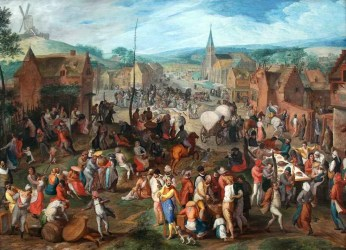 ages middle medieval trade fair europe gillis mostaert village culture painting 1590