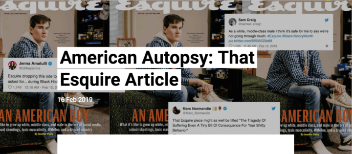 Esquire March 2019 Republic Standard American Autopsy