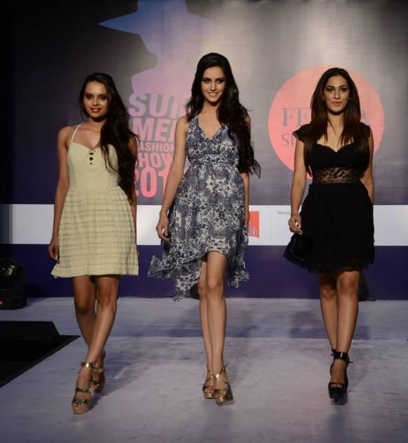 Left to RightGail Nicole Dasilva  2nd Runner Up Femina Miss India 2014, Koyal Rana Miss India World 2014, Jhatalkea Malhotra Femina Miss India 1st Runner Up