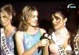 In the final round of Miss World 2000, Priyanka Chopra of India asked the question to Katja Thomsen Grien of Uruguay.