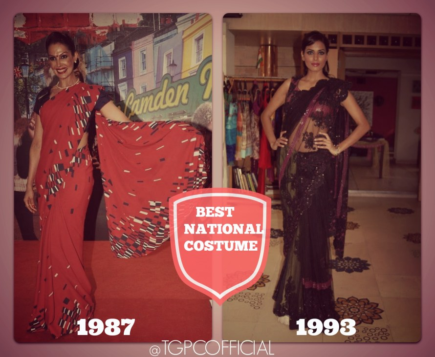 Manisha Kohli Miss India 1987 & Karminder Kaur-Virk Miss India 1993 won  best National Costume at Miss World.