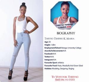 016 Theetso Tshepiso Mabua Miss Botswana 2015 Contestants