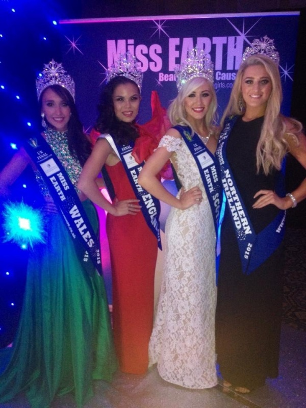 Miss Earth United Kingdom 2015 winners:(Left to right) Miss Earth England 2015 -Katrina Kendall, Miss Earth Wales 2015 Lara Stephen, Mis Earth Scotland 2015 Amy & Miss Earth Northern Ireland 2015