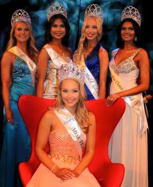 (Left to Right) Miss Sport Iceland 2015: Telma Fanney Magnúsdóttir,Miss Talent Iceland 2015: Malín Agla Kristjánsdóttir,Miss Top Model Iceland 2015: Íris Rós Hauksdóttir,Miss People's Choice Iceland 2015: Helena Reynisdóttir,Miss World Iceland 2015:Arna Ýr Jónsdóttir