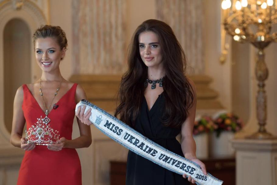 Miss Universe 2014 Second Runner Up: Diana Harkusha and Anna Andreas Miss Universe Ukraine 2014 (resigned) at Miss Universe Ukraine 2015 crowning ceremony