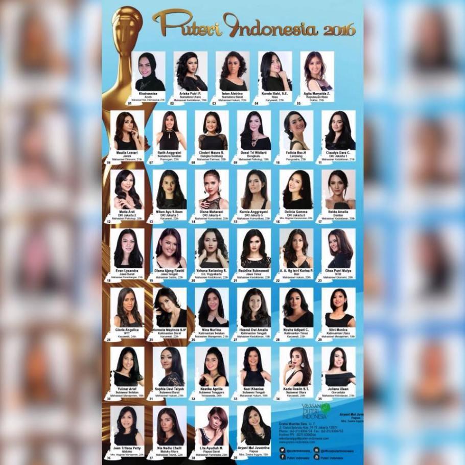 Meet the contestants of Puteri Indonesia 2016
