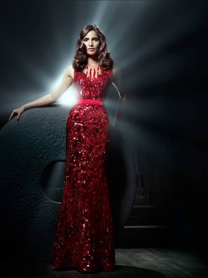 Vartika Singh in Sizzling red hot gown by Gavin Miguel