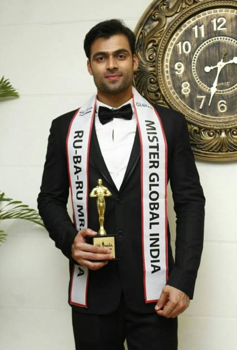 Srikant Dwivedi, winner of Rubaru Mister Global India