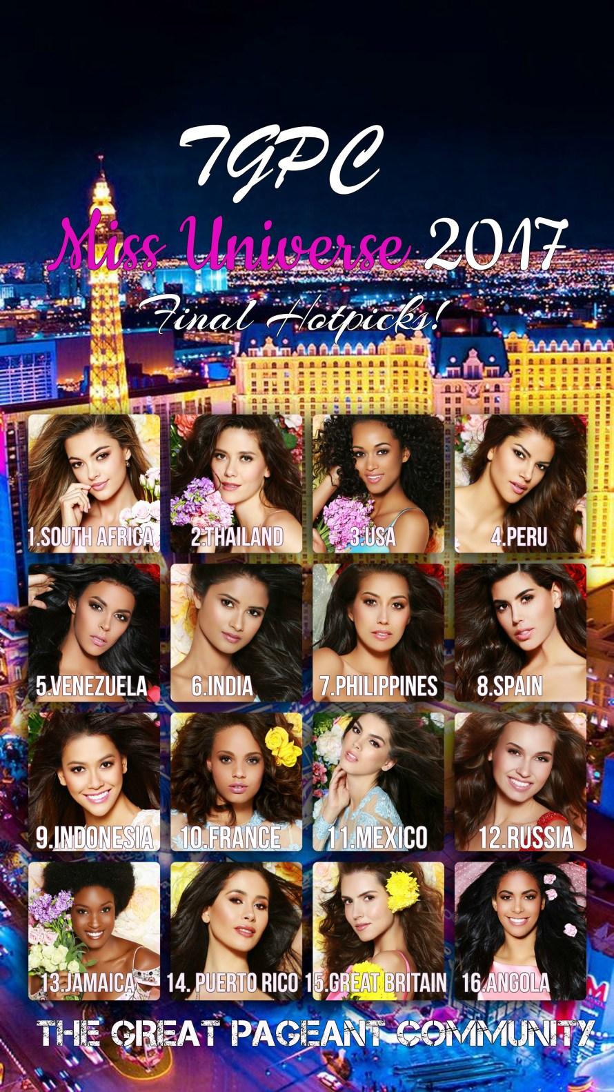 Miss Universe 2017 TGPC Hotpicks