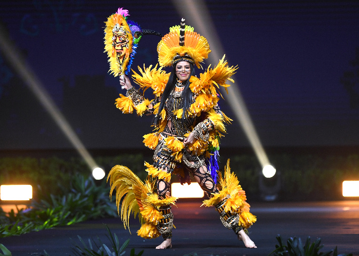 Miss Universe Brazil,Mayra Dias during the national costume presentation
