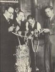 Gathering around the stock ticker during the 1929 stock market crash.