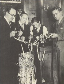 Gathering around the stock ticker during the 1929 stock market crash.