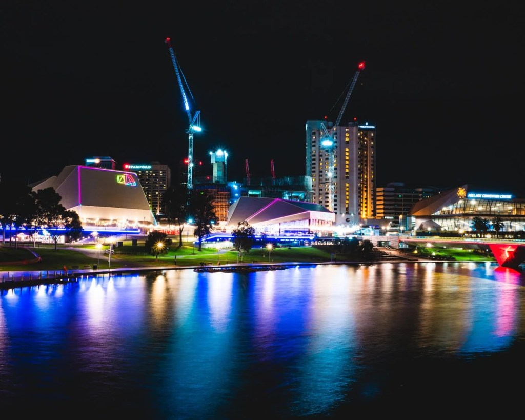 River Torrens at night with view of Adelaide CBD