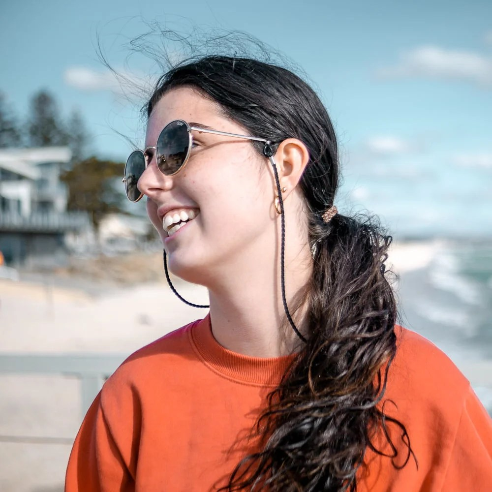 Girl smiling at Henley Beach