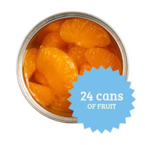 Case of canned fruit