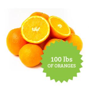 100 lbs of oranges