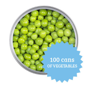 100 cans of vegetables