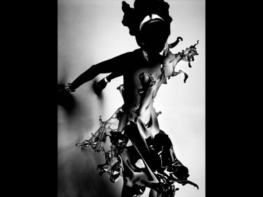 "IRIS VAN HERPEN, ""WATER SPLASH"" CRYSTALLIZATION DRESS, 2013 Plexiglass. In collaboration with Nick Knight and Daphne Guinness for ShowStudio. Image courtesy of Nick Knight and SHOWstudio.com."