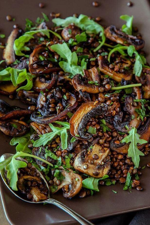 Vegan Mushroom, Lemon and Lentil Salad