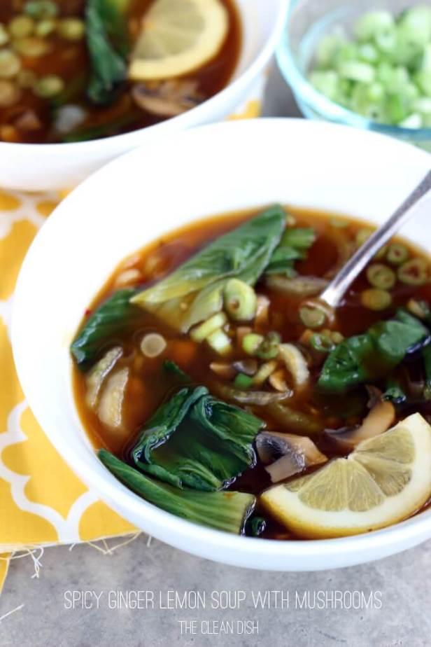 Vegan Spicy Ginger Lemon Soup with Mushrooms