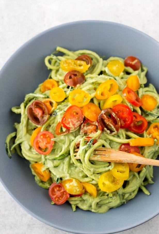 Vegan Zucchini Noodles with Avocado Sauce