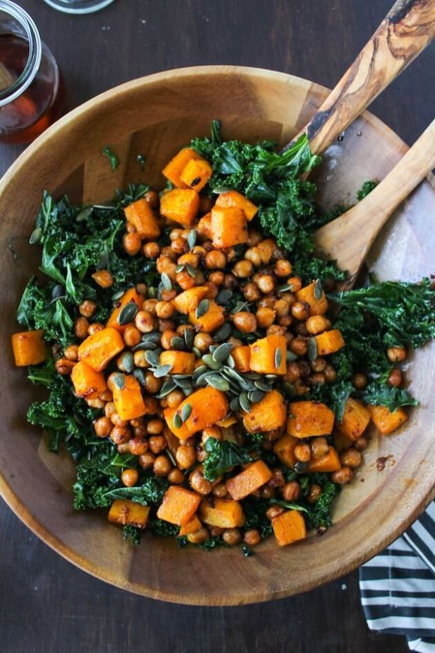 Vegan Roasted Butternut Squash Salad and Spicy Kale