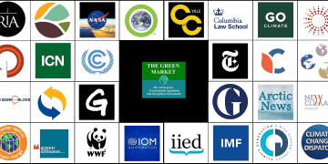 the logos of the best blogs and websites about climate change according to feedspot