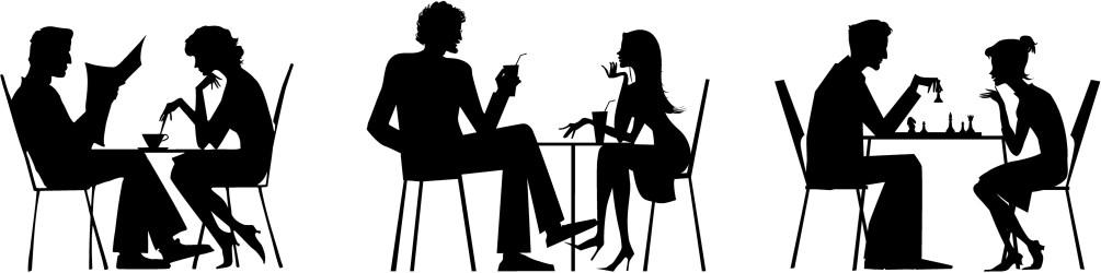 dialogue vector purposeless table silhouettes talking outside illustrations study similar