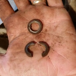The two split washers--one literally split, but both will be replaced