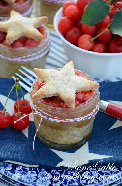 Adorable Cherry Pie in Jars with Stars