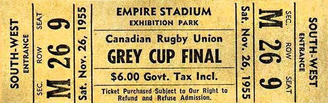 1955 Grey Cup Ticket