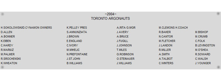 2004 Grey Cup Name Plate