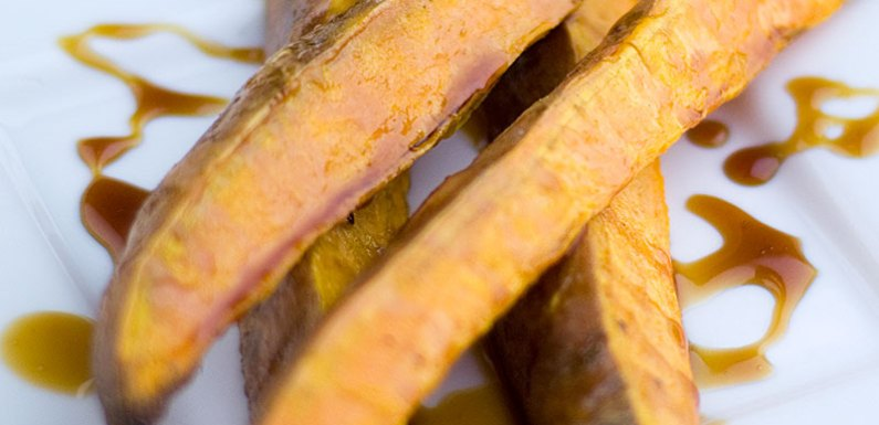 Grill-Roasted Sweet Potato Fries with Maple Soy Glaze