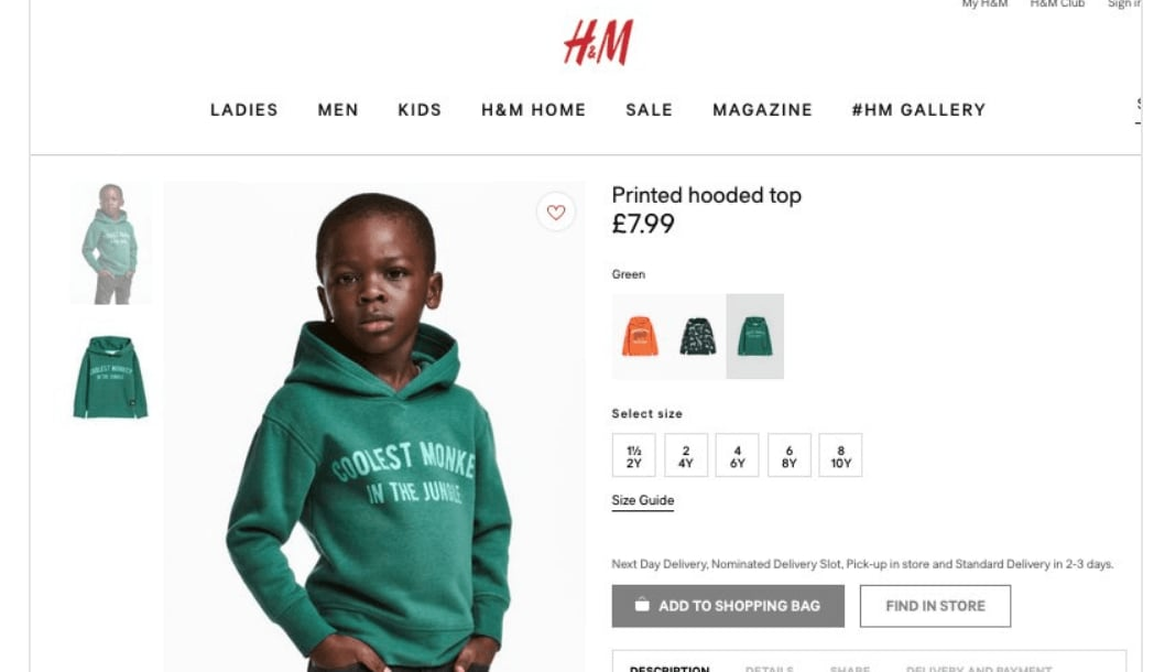 H&M faces backlash over 'monkey in the jungle' hoodie