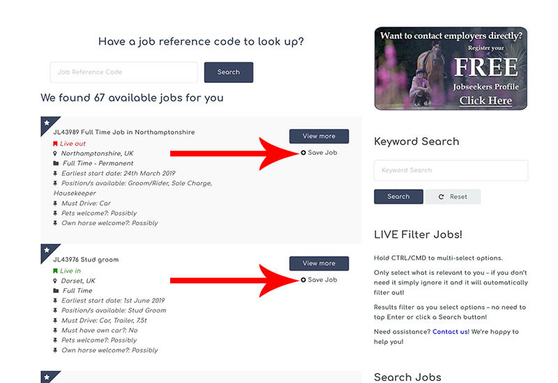 The Grooms List How-To Guide for Jobseekers - Save jobs from the search results