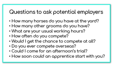 The Ultimate Equestrian Apprentice Startup Kit - Example Questions to ask Potential Employers