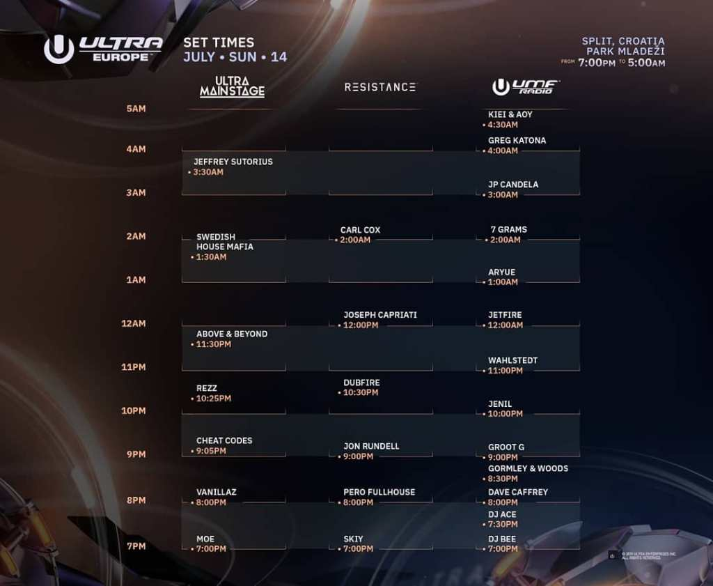 Ultra Europe 2019 timetable schedule