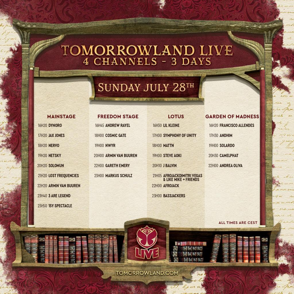 Tomorrowland 2019 livestream schedule Sunday day 3 weekend 2