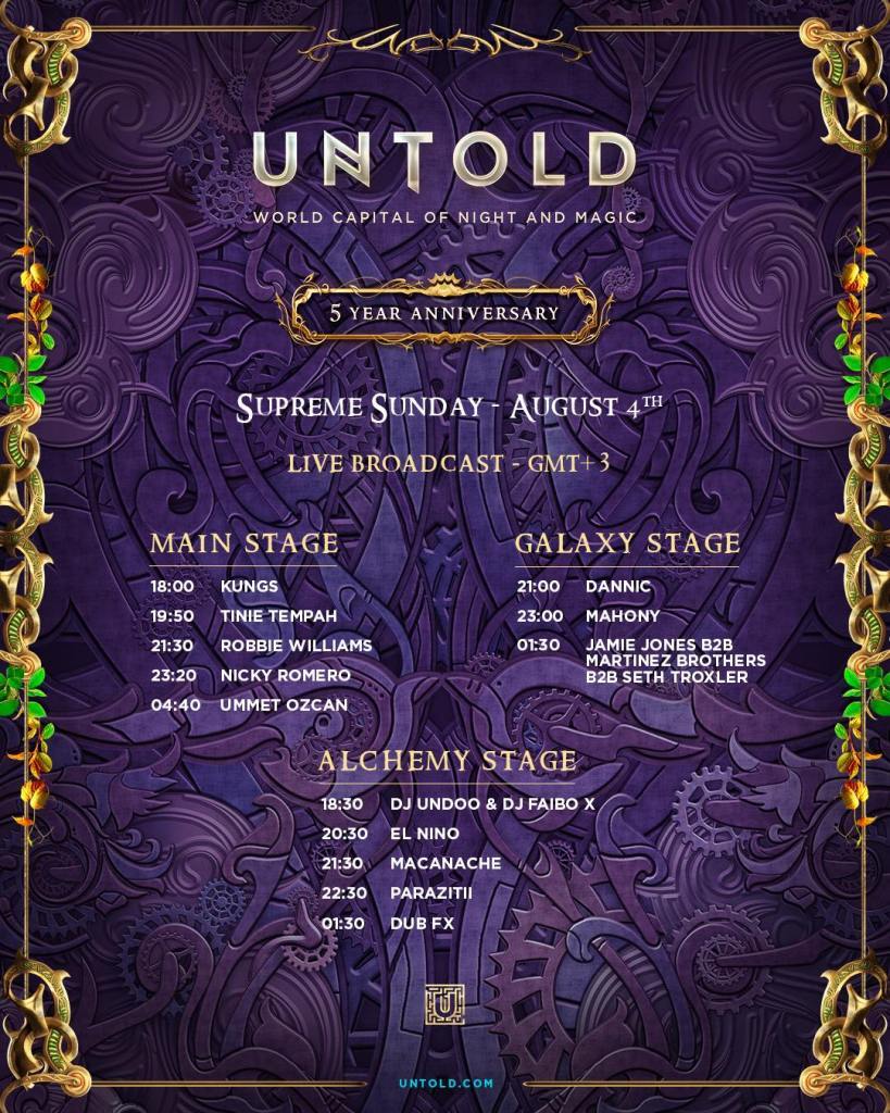 UNTOLD Livestream schedule day 4 August Sunday