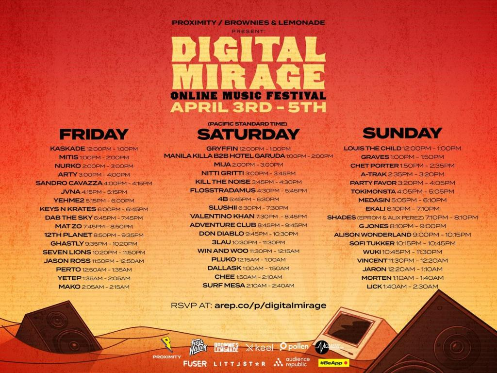 Digital Mirage: Online Music Festival schedule