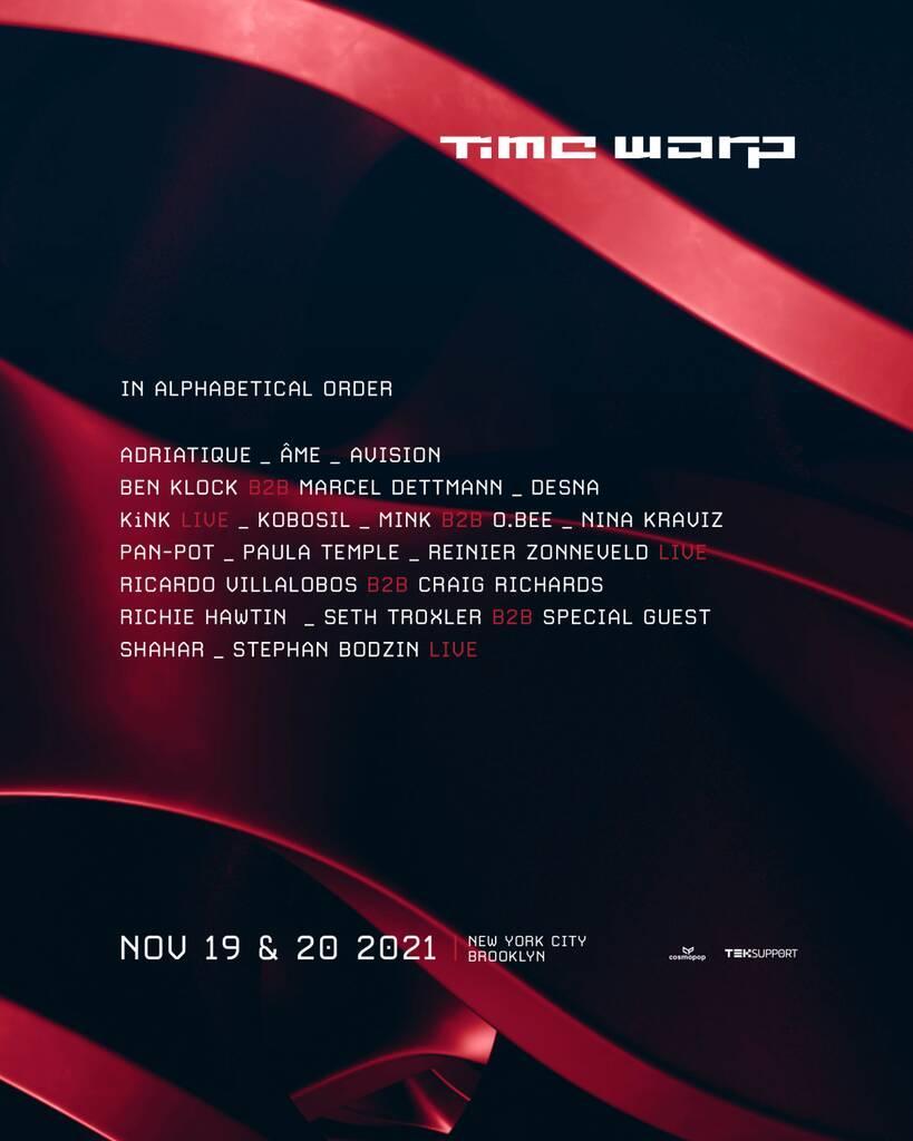 Time Warp USA unveils 2021 lineup featuring Seth Troxler, Pan-Pot, Nina Kraviz, Richie Hawtin, and more ahead of fall eventTime Warp New York City 2021 Lineup.jpg?ssl=1