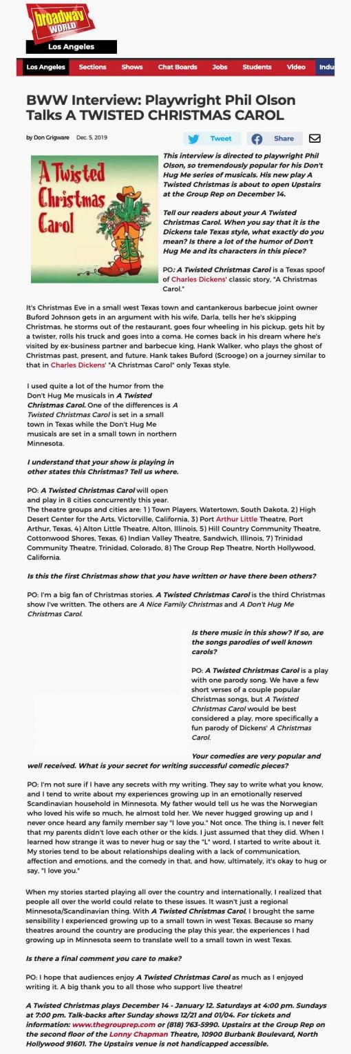 BroadwayWorld Interview with Phil Olsen