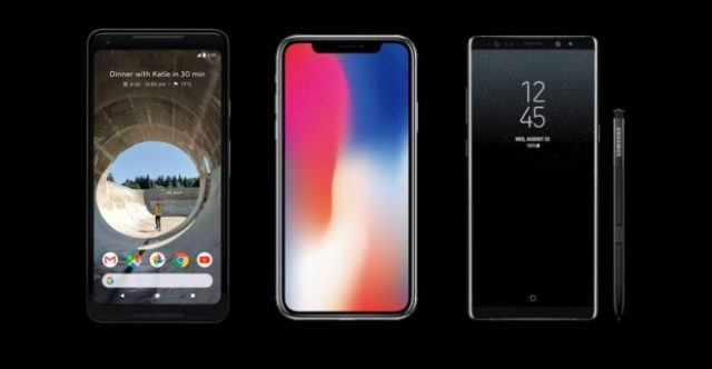 Google Pixel 2 XL iPhone X Samsung Note 8
