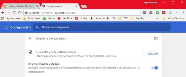 Google Chrome limpiar malware