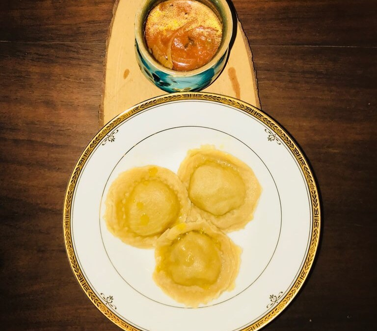 WHOLE WHEAT RAVIOLI STUFFED WITH BAKED BEANS