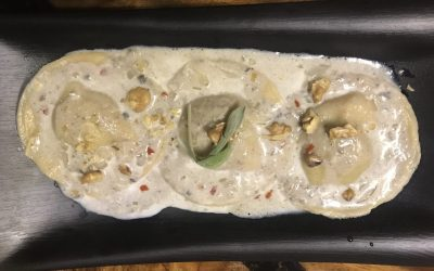 WHOLE WHEAT PUMPKIN AND SAGE RAVIOLI IN MUSHROOM SAUCE WITH TOASTED WALNUTS