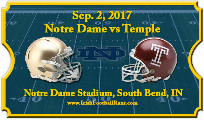 Irish Football Weekly:Notre Dame-Temple Preview W/Tony Hunter