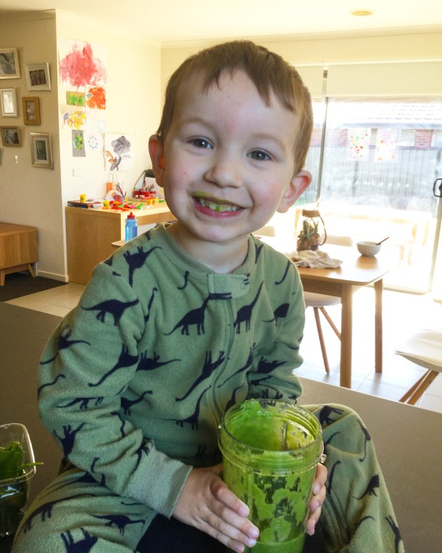 Getting a toddler to eat green foods via juice