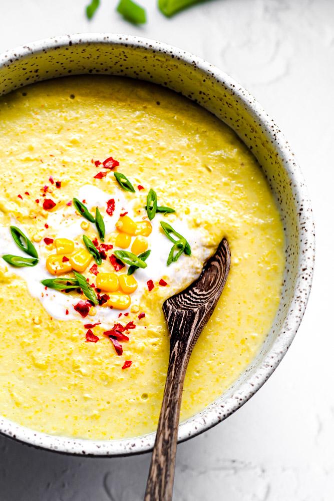 Creamy Corn Chowder in a bowl.