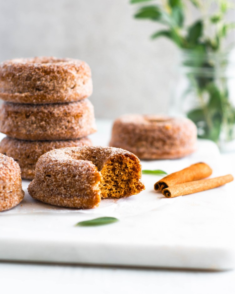 cinnamon sugar donuts in a stack